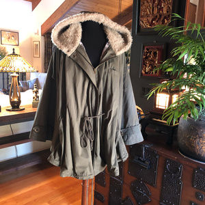 Joe Browns Hooded Cape Poncho Coat Lined sz 28/30